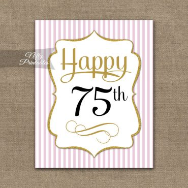 75th Birthday Sign - Pink Gold