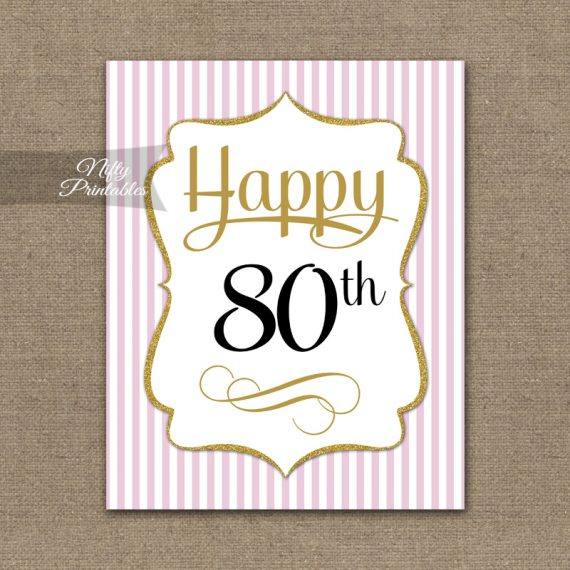 80th Birthday Sign - Pink Gold