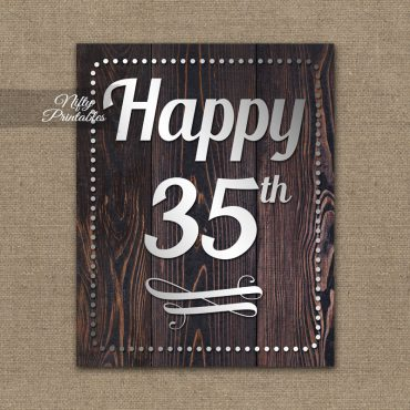 35th Birthday Sign - Rustic Wood