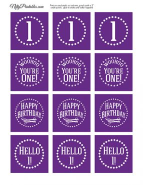 1st Birthday Cupcake Toppers - Purple