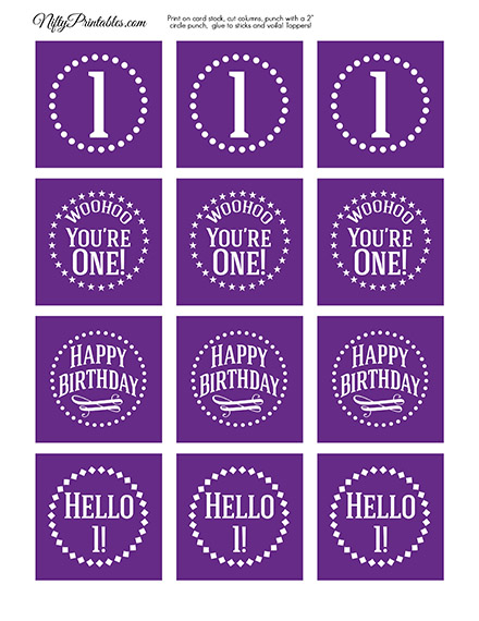 1st Birthday Cupcake Toppers - Purple White Impact