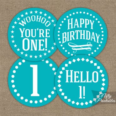 1st Birthday Cupcake Toppers - Turquoise