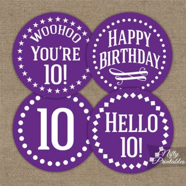 10th Birthday Cupcake Toppers - Purple White Impact