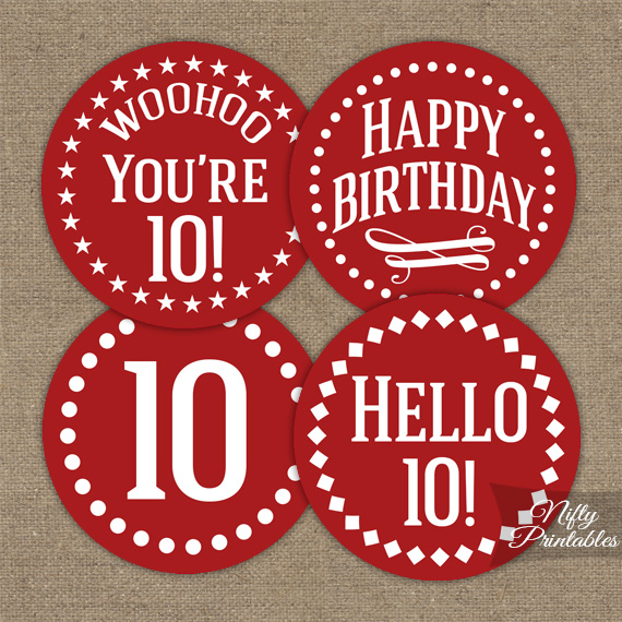 10th Birthday Cupcake Toppers - Red White