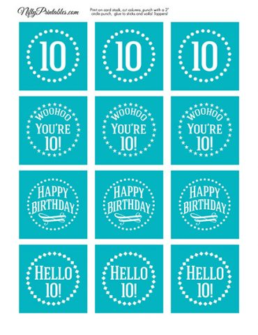 10th Birthday Cupcake Toppers - Turquoise