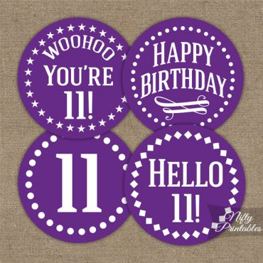 11th Birthday Cupcake Toppers - Purple White Impact