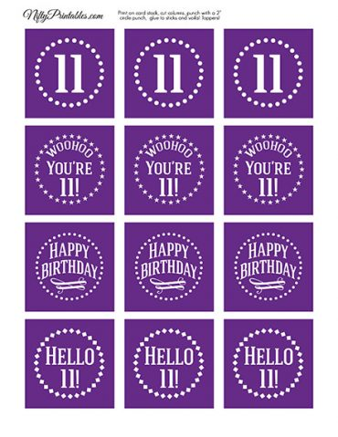 11th Birthday Cupcake Toppers - Purple