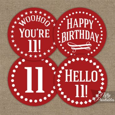 11th Birthday Cupcake Toppers - Red White Impact