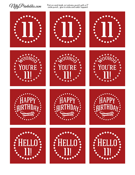 11th Birthday Cupcake Toppers - Red White