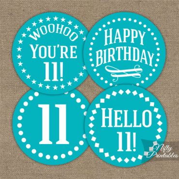 11th Birthday Cupcake Toppers - Turquoise