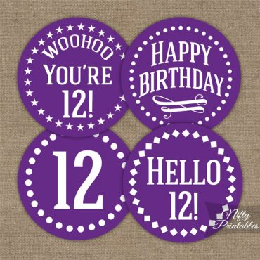 12th Birthday Cupcake Toppers - Purple White Impact