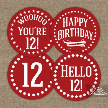 12th Birthday Cupcake Toppers - Red White
