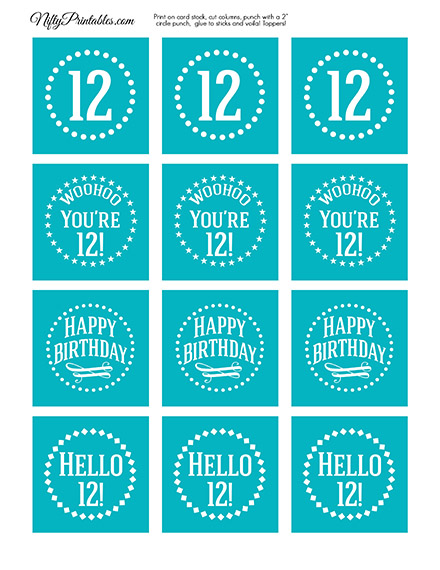12th Birthday Cupcake Toppers - Turquoise