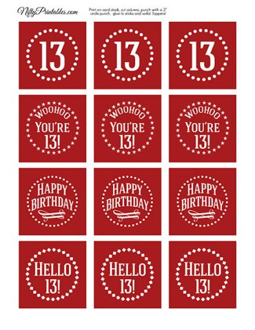 13th Birthday Cupcake Toppers - Red White