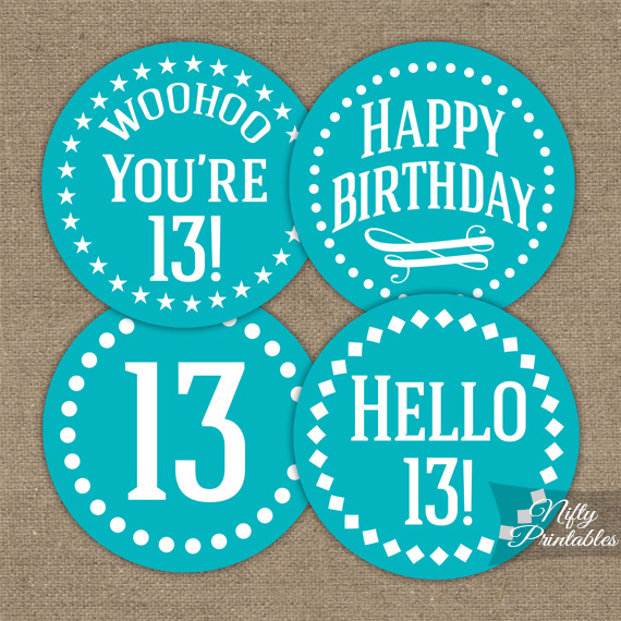 13th Birthday Cupcake Toppers Turquoise