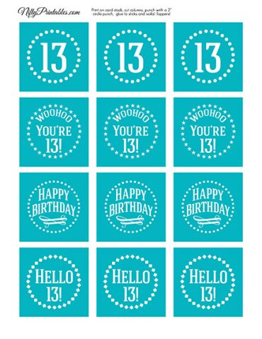 13th Birthday Cupcake Toppers - Turquoise