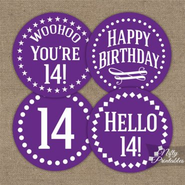 14th Birthday Cupcake Toppers - Purple White Impact