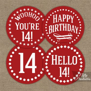 14th Birthday Cupcake Toppers - Red White