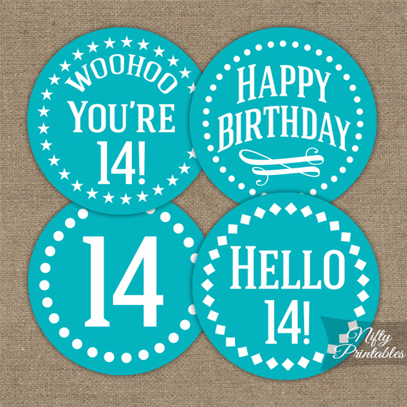 14th Birthday Cupcake Toppers - Turquoise