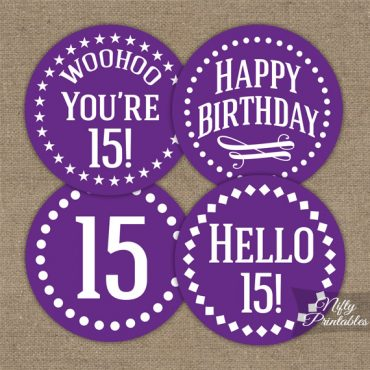 15th Birthday Cupcake Toppers - Purple