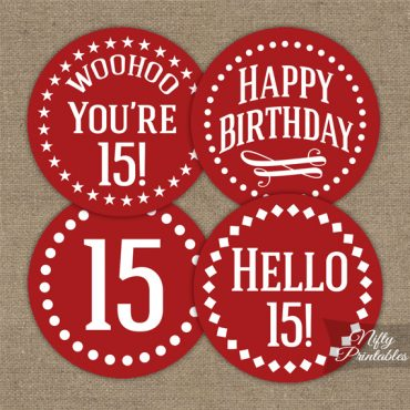 15th Birthday Cupcake Toppers - Red White Impact