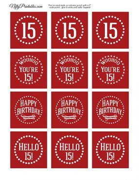 15th Birthday Cupcake Toppers - Red White
