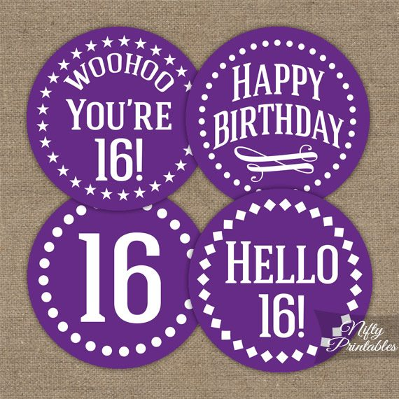 16th Birthday Cupcake Toppers Purple