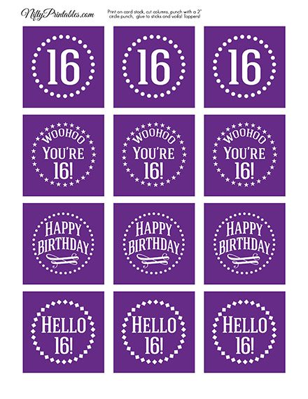 16th Birthday Cupcake Toppers - Purple