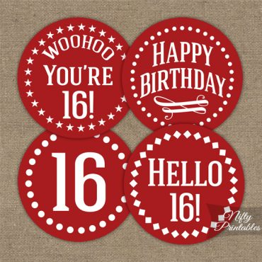 16th Birthday Cupcake Toppers - Red White Impact