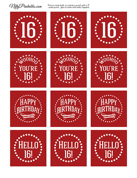 16th Birthday Cupcake Toppers - Red White