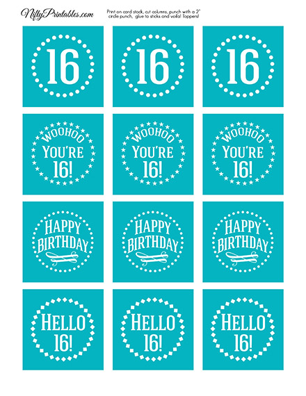 16th Birthday Cupcake Toppers - Turquoise