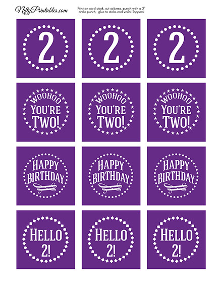 2nd Birthday Cupcake Toppers