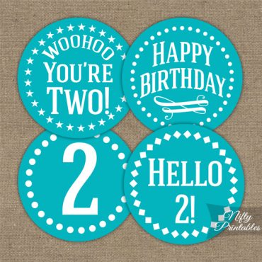 2nd Birthday Cupcake Toppers - Turquoise
