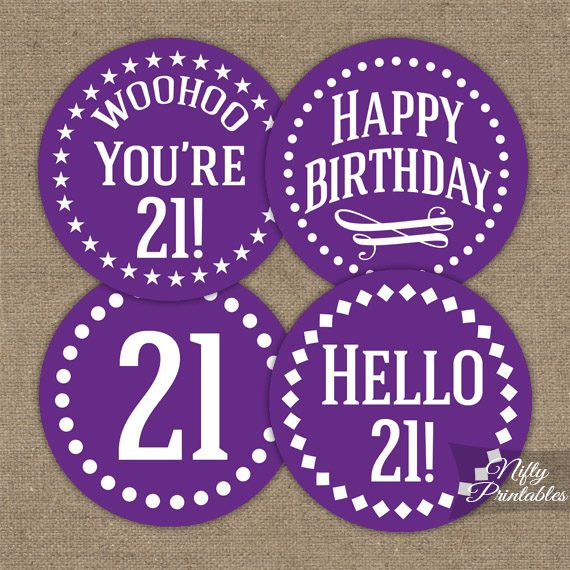 21st Birthday Cupcake Toppers Purple