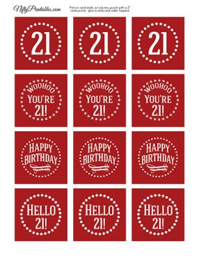 21st Birthday Cupcake Toppers - Red White