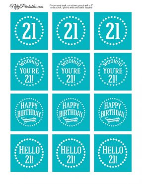 21st Birthday Cupcake Toppers - Turquoise