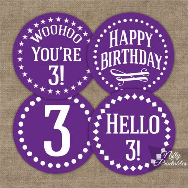 3rd Birthday Cupcake Toppers - Purple White Impact