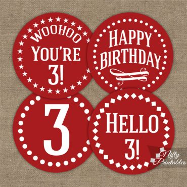 3rd Birthday Cupcake Toppers - Red White