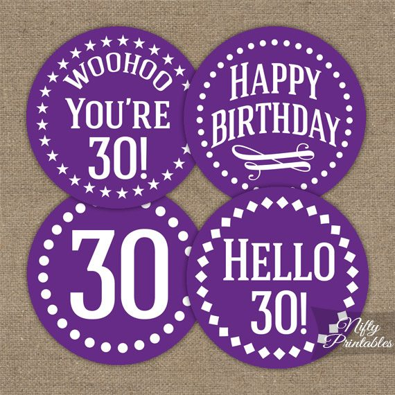 30th Birthday Cupcake Toppers - Purple White Impact