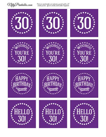 30th Birthday Cupcake Toppers - Purple