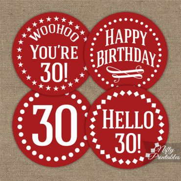 30th Birthday Cupcake Toppers - Red White