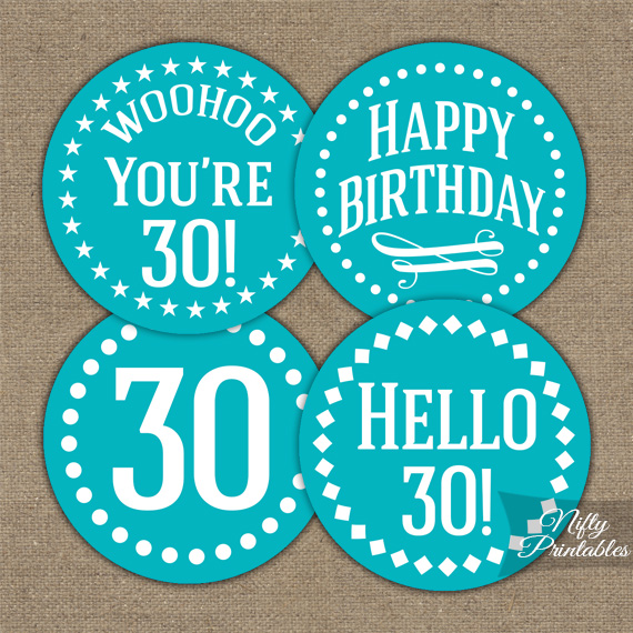30th Birthday Cupcake Toppers - Turquoise