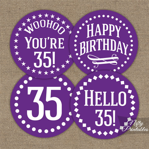 35th birthday cupcake toppers purple nifty printables for 35th birthday decoration ideas