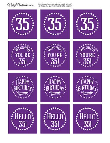 35th Birthday Cupcake Toppers - Purple