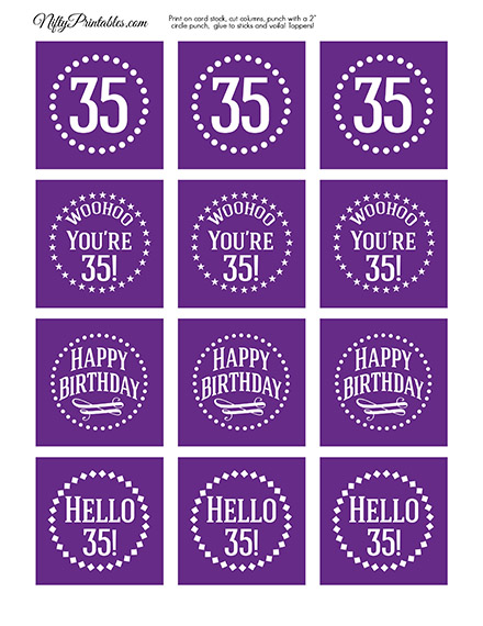 35th Birthday Cupcake Toppers - Purple White Impact
