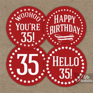 35th Birthday Cupcake Toppers - Red White Impact