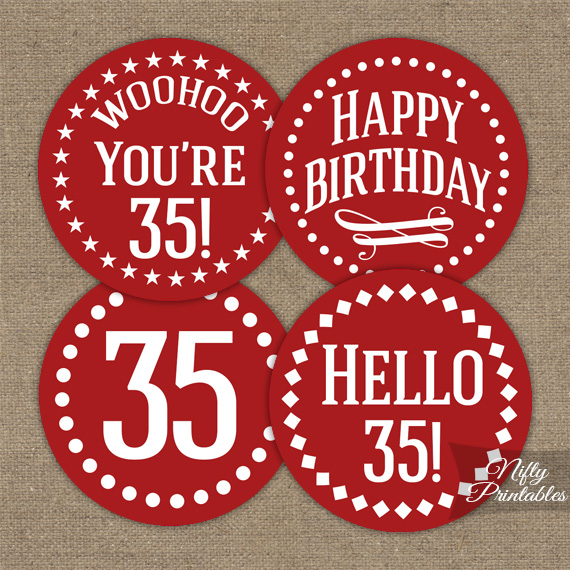 35th Birthday Cupcake Toppers - Red White