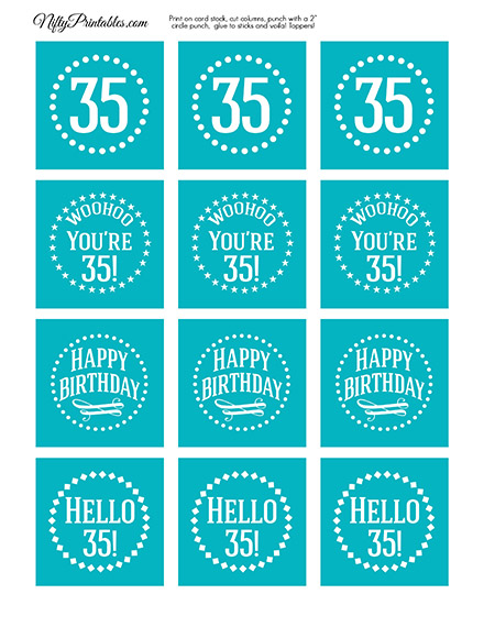 35th Birthday Cupcake Toppers - Turquoise