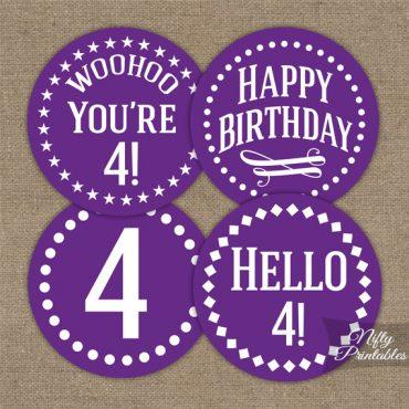 4th Birthday Cupcake Toppers - Purple White Impact