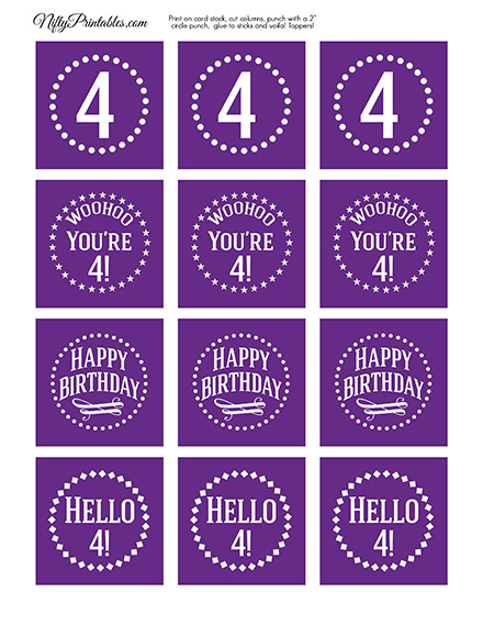 4th Birthday Cupcake Toppers - Purple